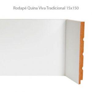 Rodapé em MDF Branco Linha Tradicional 15x150