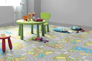 Ambiente com Piso Vinílico Tarkett Imagine Magic Macadam Green