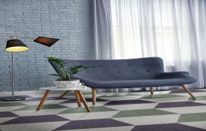 Ambiente do Piso Vinilico Tarkett Ambienta em Régua Make It Cor Moss Green, Light Grey e Dark Purple