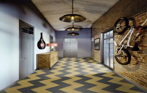 Ambiente do Piso Vinilico Tarkett Ambienta em Régua Make It Cor Sunflower Yellow e Dark Grey